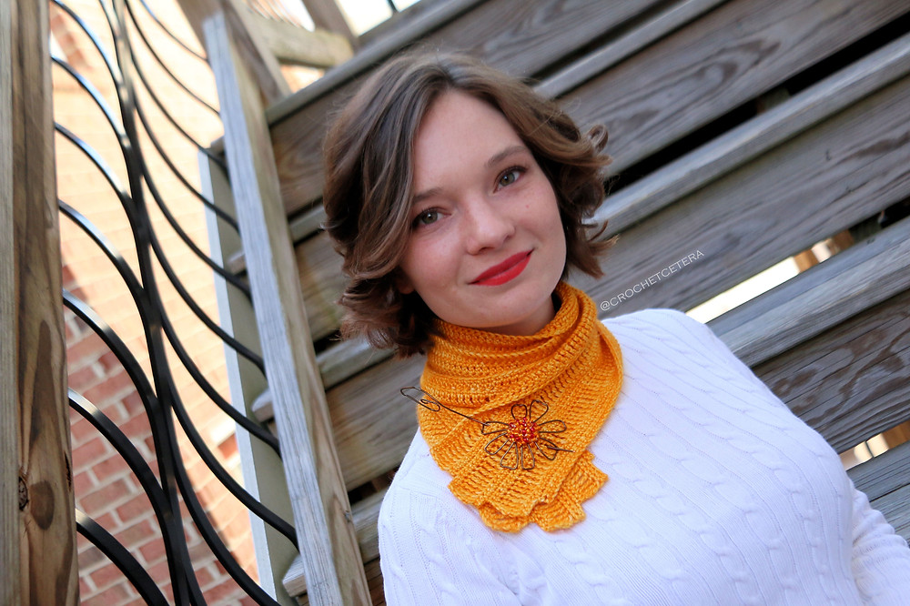 Cosmos Flower Scarf, Designed and Crocheted by Connie Lee Lynch of CrochEt Cetera by Connie Lee