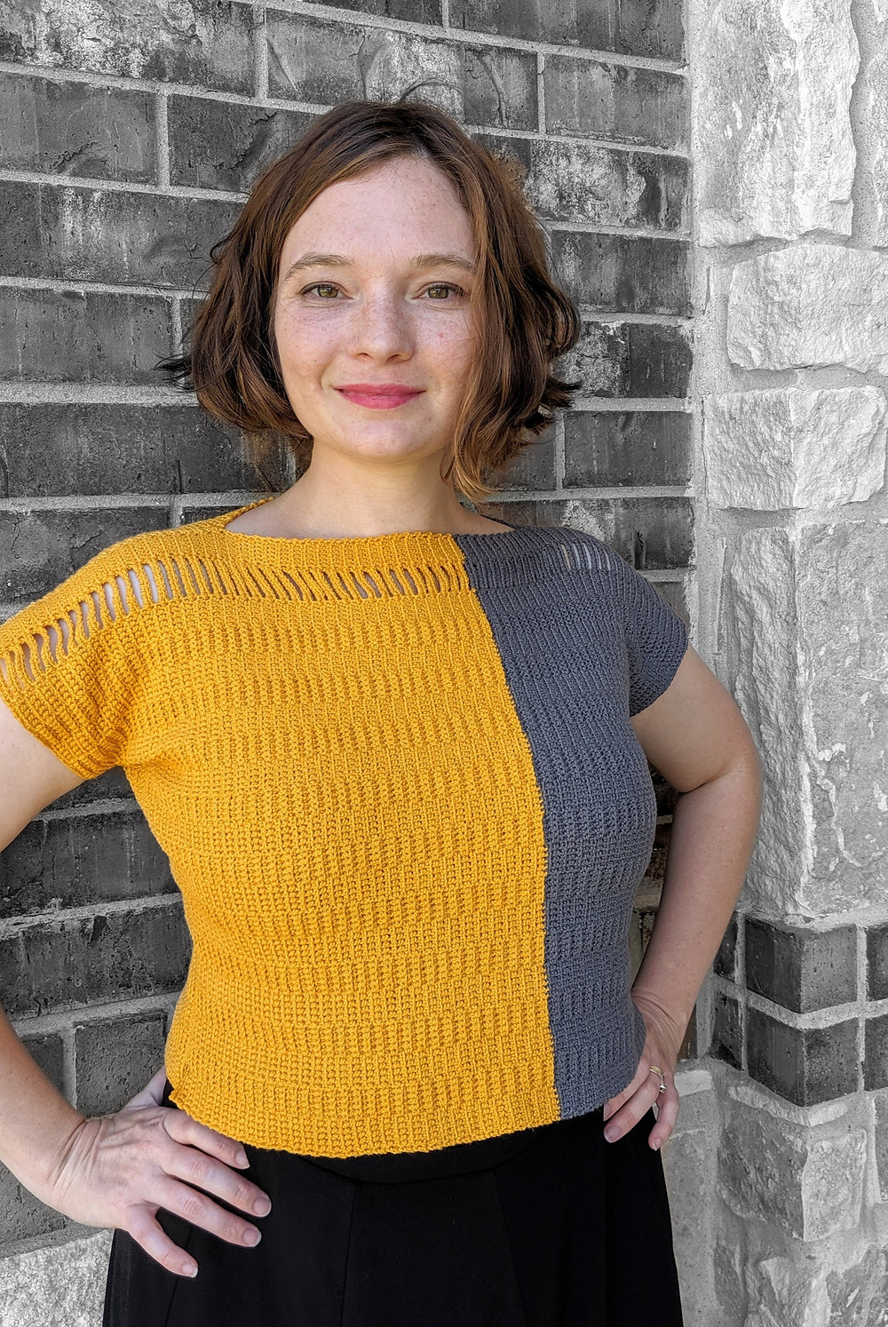 Tarmac Tee, Designed and Crocheted by Connie Lee Lynch of CrochEt Cetera by Connie Lee, Published in Interweave Crochet Magazine Spring 2020 Edition