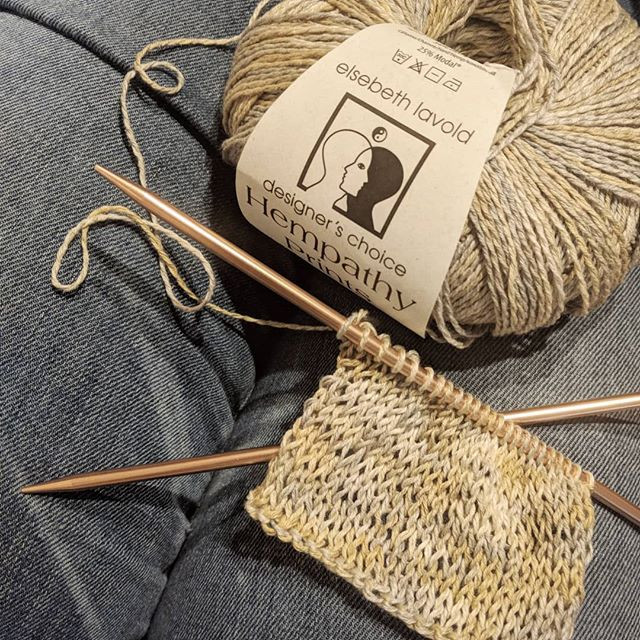 Knit Swatch with Hempathy Prints from Eslebeth Lavold