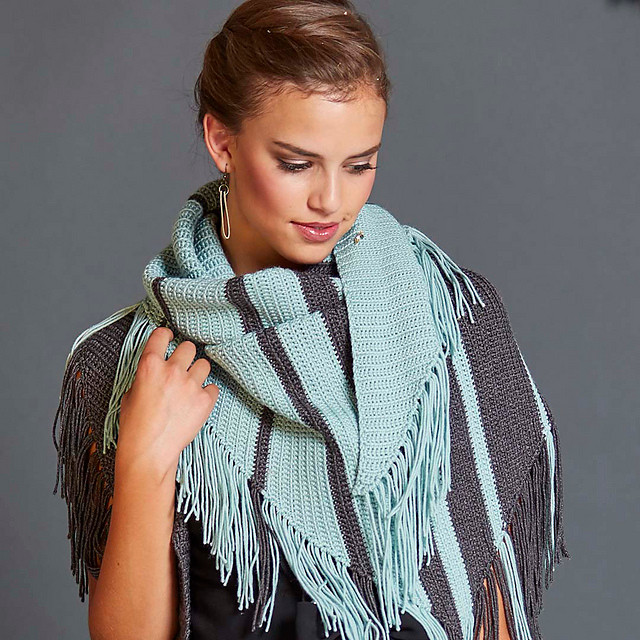 Parallel Celebrations Shawl, designed and crocheted by Connie Lee Lynch of CrochEt Cetera by Connie Lee, image courtesy of Interweave and Photographer George Boe