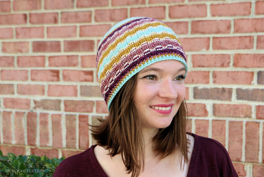Brixel Hat, Designed and Crocheted by Connie Lee Lynch of CrochEt Cetera with Little Fox Yarn Sampler in Colorway No 3