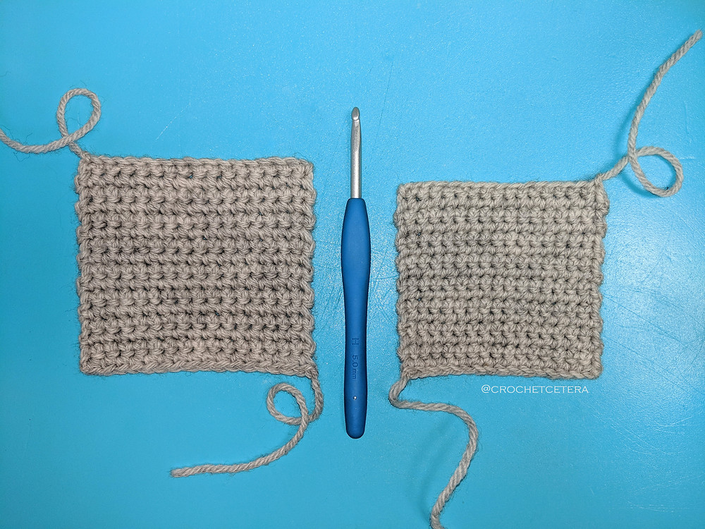 Right Hand vs Left Hand Single Crochet Swatches demonstrate differences in tension