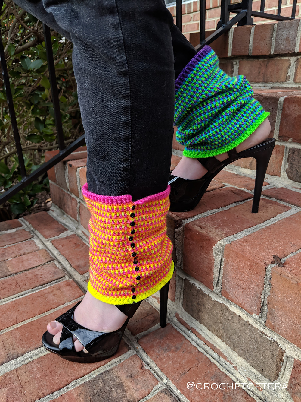 Outraveous Legwarmers, Designed and Crocheted by Connie Lee Lynch of CrochEt Cetera by Connie Lee with Rainbow Neon Minis Flockin' Sock XTRA by Joe Cole of What the Flock! Yarn