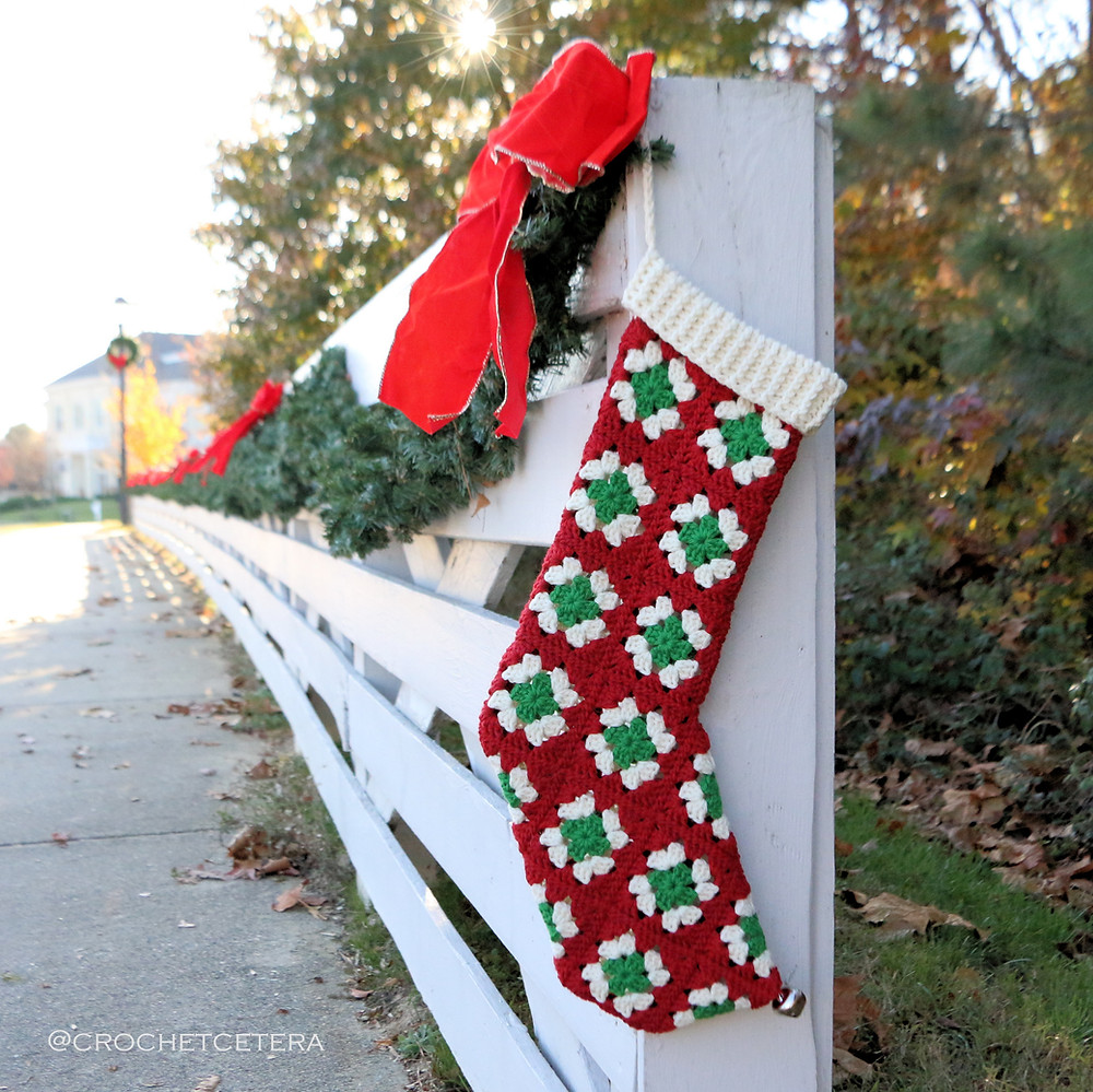 Ye Olde Granny Square Christmas Stocking in Cascade 220 designed and crocheted by Connie Lee Lynch of CrochEt Cetera by Connie Lee