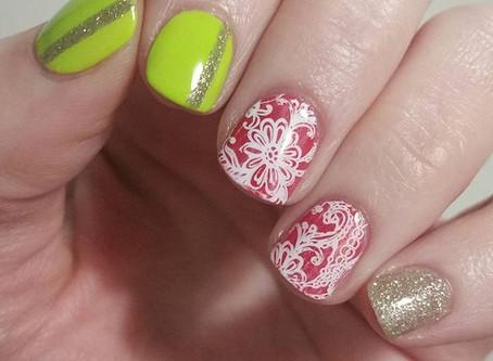 Neon Floral Lace Nails
