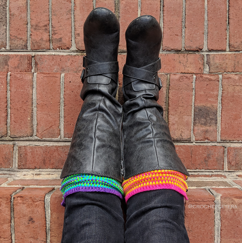 Outraveous Legwarmers, Designed and Crocheted by Connie Lee Lynch of CrochEt Cetera by Connie Lee with yarn from What the Flock!
