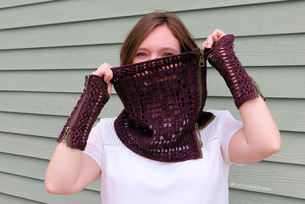 Moroldian Skull Cowl and Fingerless Mitts, Designed and Crocheted by Connie Lee Lynch of CrochEt Cetera by Connie Lee