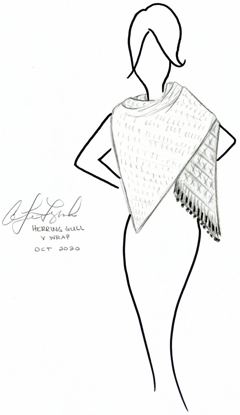Original Design Sketch for the Herring Gull Wrap Crochet Pattern