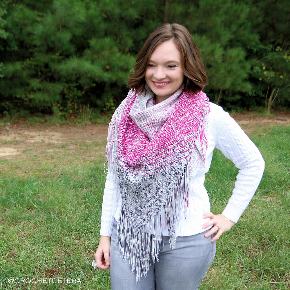 Sweet Carolina Shawl, Designed and Crocheted by Connie Lee Lynch of CrochEt Cetera by Connie Lee with yarn from Hauteknityarn, version 2 with fringe