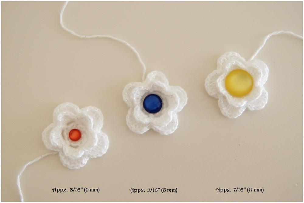 Thread Crochet Flower Button Center Comparisons