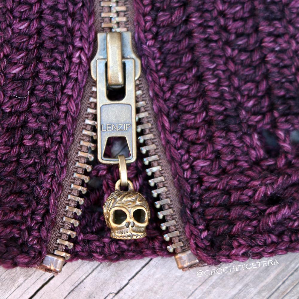 Moroldian Skull Cowl Charm and Zipper Detail