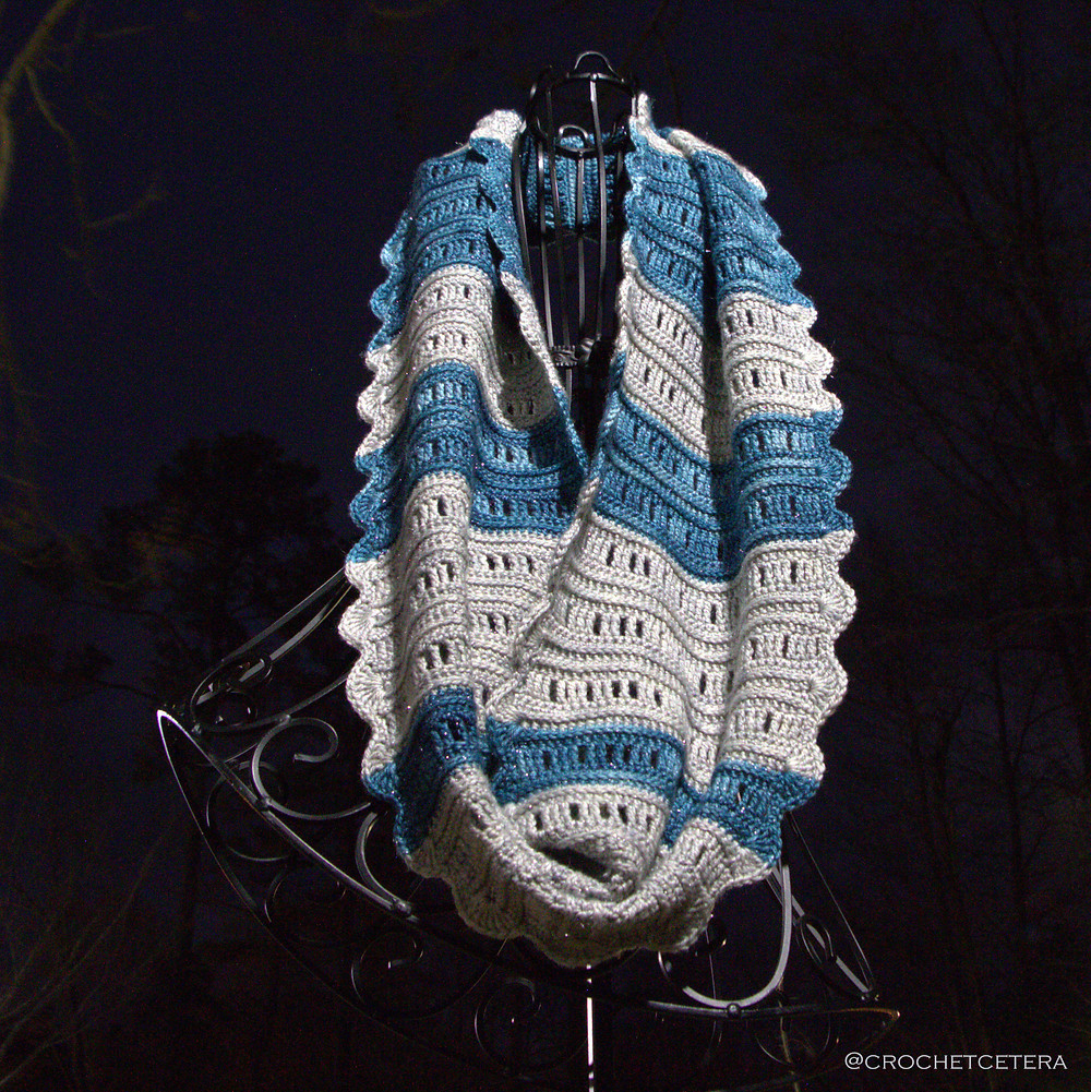 Lunar Phases Cowl designed and crocheted by Connie Lee Lynch of CrochEt Cetera by Connie Lee with Lunaris by Anzula Luxury Fibers in Gravity and Aqua