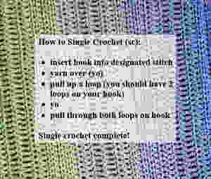 How to Single Crochet (sc): insert hook into designated stitch, yarn over (yo), pull up a loop (2 loops on hook), yo, pull through both loops on hook.
