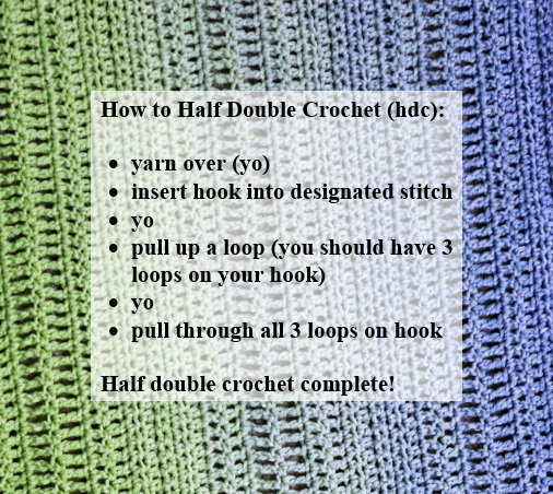 How to Half Double Crochet (hdc): yarn over (yo), insert hook into designated stitch, yo, pull up a loop (3 loops on hook), yo, pull through all 3 loops on hook.