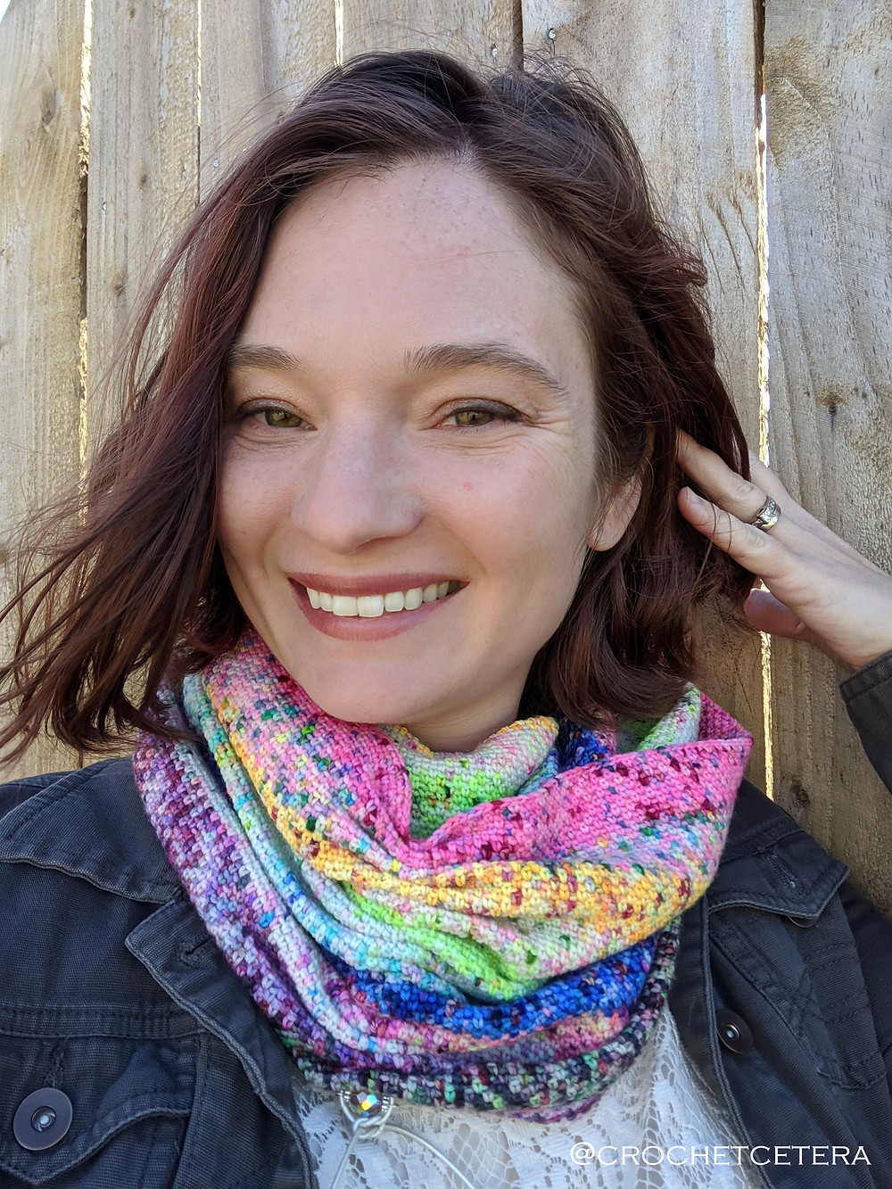 Specklewerk Cowl cinched and wrapped twice, designed and crocheted by Connie Lee Lynch