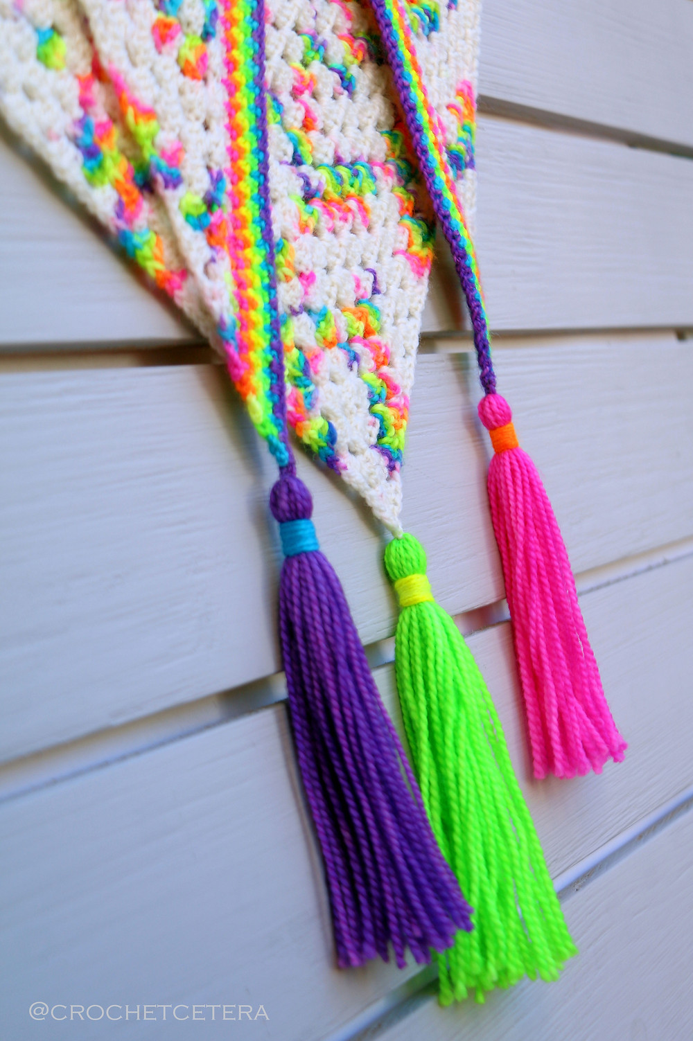 Granny at a Rave Shawlette Tassels Detail