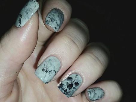 Hand Painted Skull Nail Art