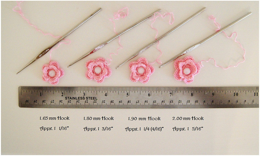 Thread Crochet Flower and Hook Comparisons