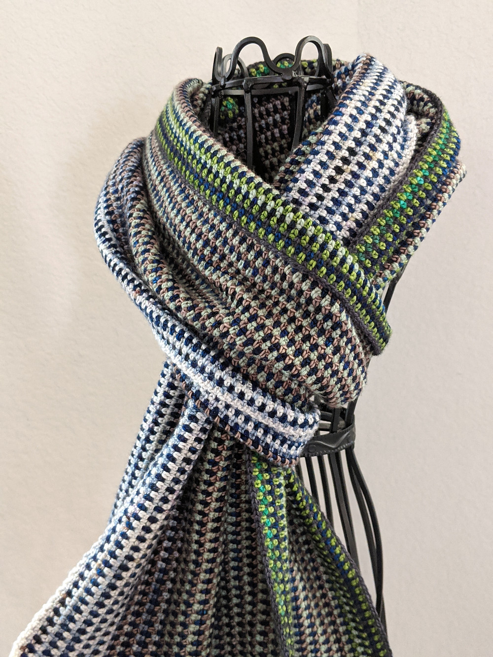 Linen Stitch Scarf Crocheted  with Leftover Yarn from the James River Wrap, Designed by Connie Lee Lynch of CrochEt Cetera by Connie Lee