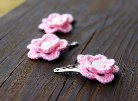 Thread Crochet Flower Hair Clips