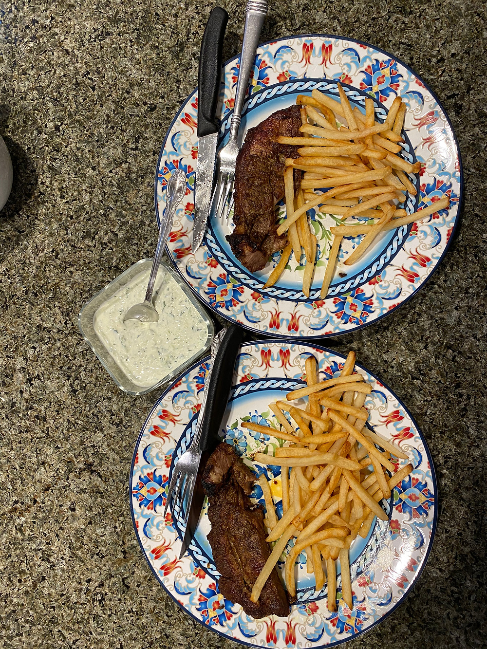 Organic Lamb Steak, French Fries & Traditional Greek Tzatziki
