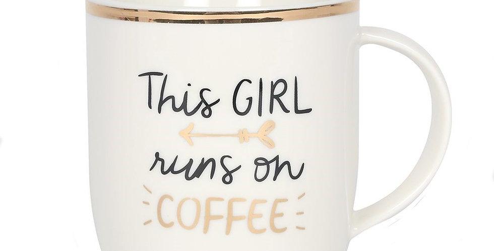 This Girl Runs On Coffee Mug