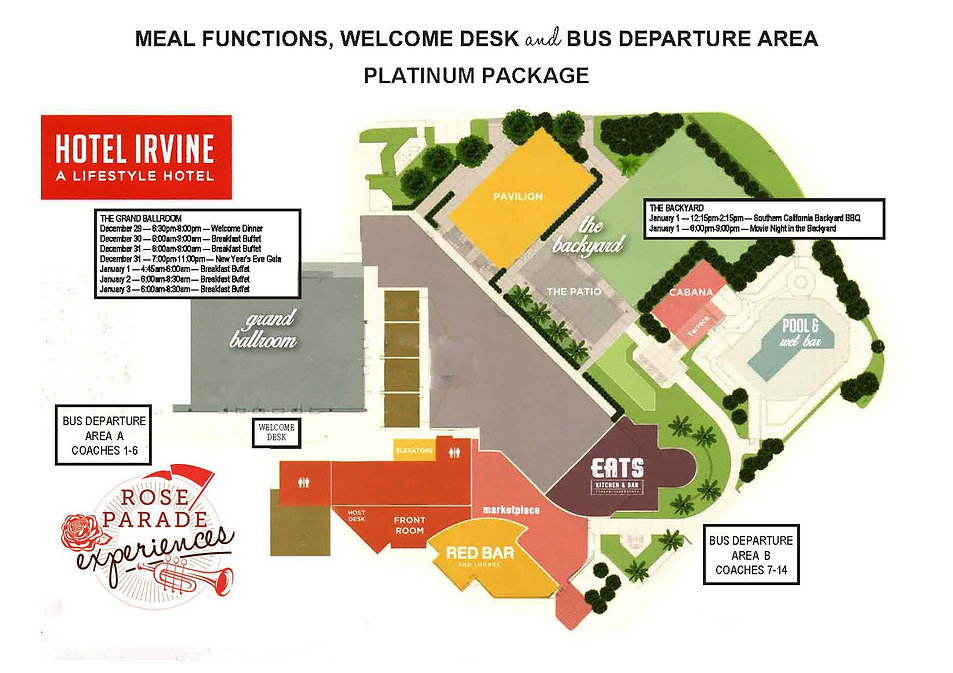 2020 Map for Meal Functions Welcome Desk
