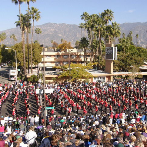 The bands marching along.