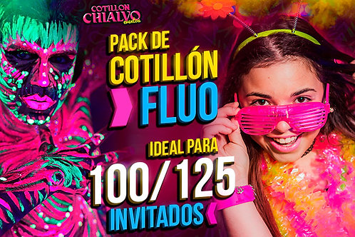 Pack de Cotillón Fluo Total Ideal para 100 o 125 Invitados