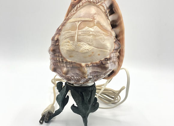 Vintage Italian Hand Carved Conch Shell Lamp