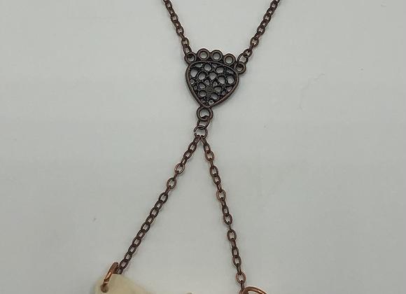 Bone Vertebrae & Copper Drop Necklace