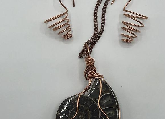Ammonite Necklace & Earrings Set
