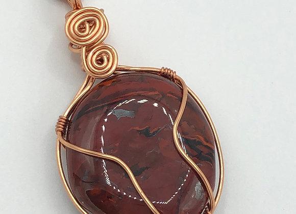 Red Safflower Jasper Copper Wrapped Necklace