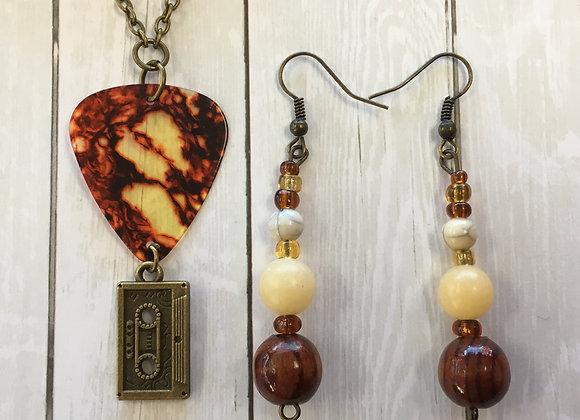 Tortoise shell GuitarPick Necklace & Earrings Set