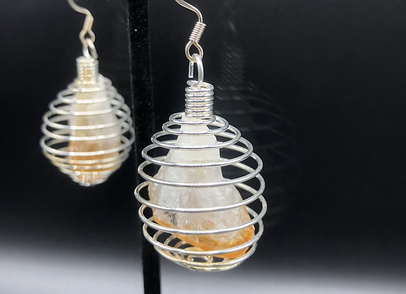 Citrine Crystal Caged Earrings