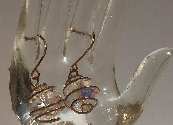 16g Spiral Copper Earrings Crystal Ball