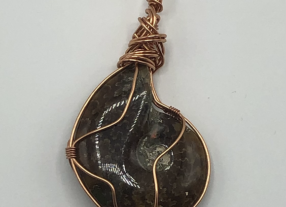 Whole Polished Ammonite Copper Necklace