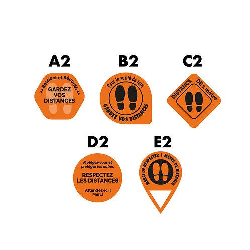 Adhésif sol rond Orange plastification anti dérapante - Lot de 10