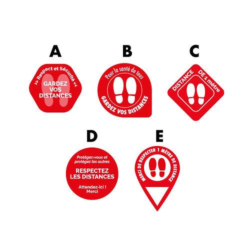 Adhésif sol rond Rouge plastification anti dérapante - Lot de 10