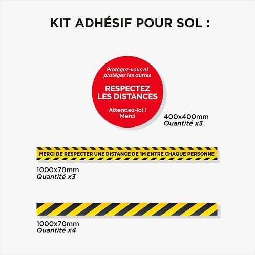 Kit 10 adhésifs Sol plastification anti-dérapante Noire / Jaune