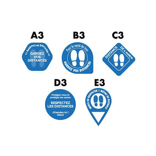 Adhésif sol rond Bleu plastification anti dérapante - Lot de 10
