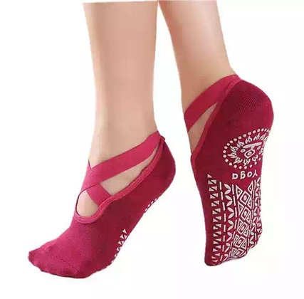Calcetines YOGA Rojo antideslizantes