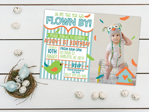 Oh my, this year has Flown By! - First Birthday Invitations