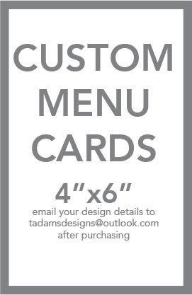 Custom Menu Card 4x6