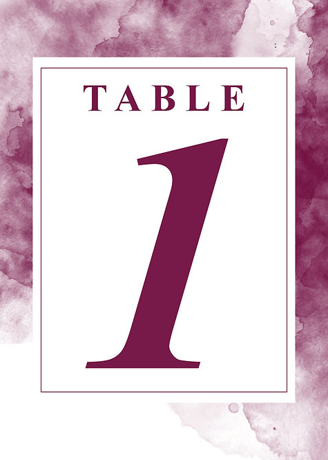 Watercolor -Table Numbers