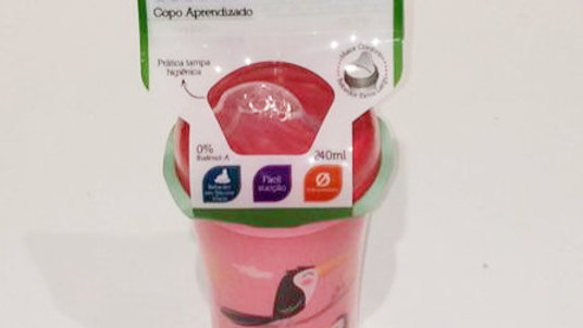 Copo aprendizado de silicone decorado rosa Lillo 6+