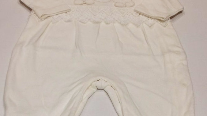 Macacão de malha bordado 3 ursinhos com aplique de renda Baby Fashion
