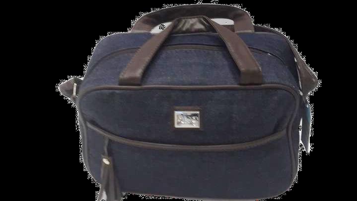 Bolsa pequena tipo jeans com forro impermeável bolso frontal Hug