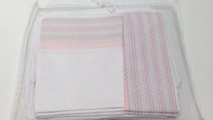 Jogo de lençol 3 peças barra zig zag rosa e cinza Babyleo