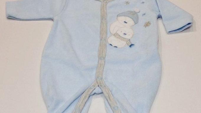 Macacão plush pinguins na neve azul Tilly Baby